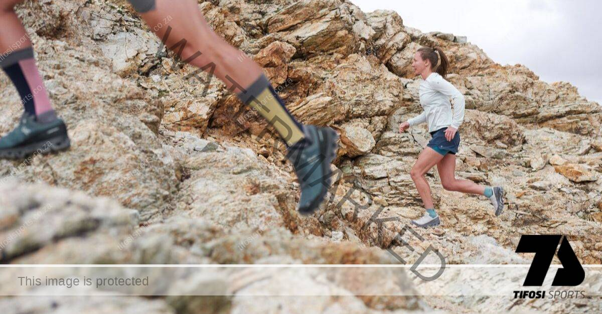 On Athletes running on a trail, with On shoes and On socks - Tifosi Sports